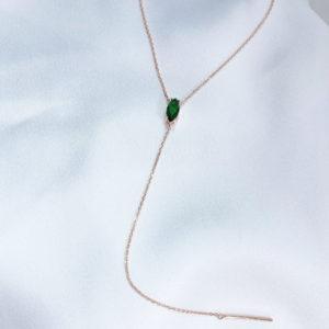 שרשרת טיפה רוז גולד בשילוב אבן ירוקה