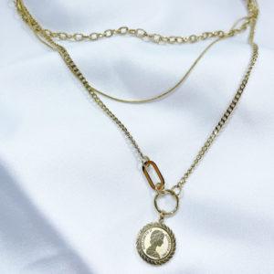 שרשרת חוליות מטבע זהב
