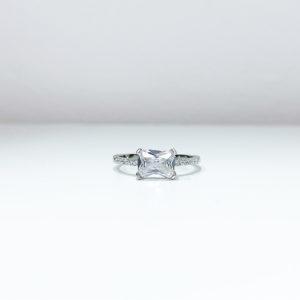 טבעת מלבן מרכזי כסף